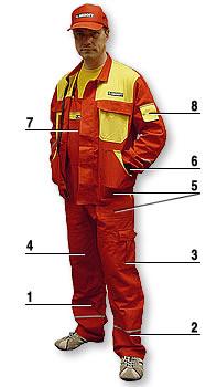 1 – vysoká gramáž, 2 – reflexní pásky na nohavicích a rukávech, 3 – celkem 16 kapes a z toho 4 na zip, 4 – zesílená kolena, 5 – zesílené spodní třetiny kapes, 6 – úplety na rukávech, 7 – na laclu velká kapsa na zip, 8 – speciální kapsička na mobil