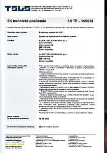 SK technické posouzení – Balkónový systém HASOFT
