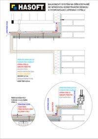 Balkónový systém na dřevostavbě se SPÁDOVOU KONSTRUKČNÍ DESKOU a hydroizolací LEPENKA V KÝBLU