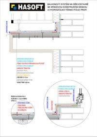 Balkónový systém na dřevostavbě se SPÁDOVOU KONSTRUKČNÍ DESKOU a hydroizolací TĚSNICÍ FÓLIE PROFI