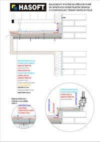 Balkónový systém na dřevostavbě se SPÁDOVOU KONSTRUKČNÍ DESKOU a hydroizolací TĚSNICÍ NOPOVÁ FÓLIE