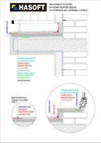 Balkónový systém na KONSTRUKČNÍ DESCE s hydroizolací LEPENKA V KÝBLU