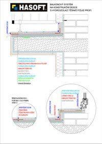 Balkónový systém na KONSTRUKČNÍ DESCE s hydroizolací TĚSNICÍ FÓLIE PROFI