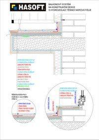 Balkónový systém na KONSTRUKČNÍ DESCE s hydroizolací TĚSNICÍ NOPOVÁ FÓLIE
