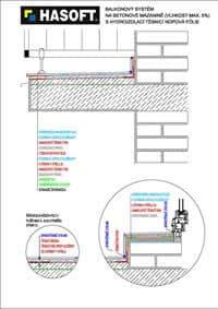Balkónový systém na betónovej mazanine (vlhkosť max. 5 %) s hydroizoláciou TESNIACA NOPOVÁ FÓLIA