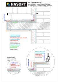 Balkónový systém na SPÁDOVÉ KONSTRUKČNÍ DESCE s hydroizolací TĚSNICÍ FÓLIE PROFI