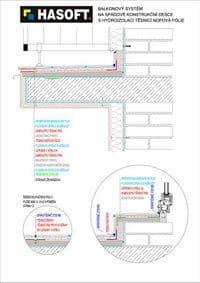 Balkónový systém na SPÁDOVÉ KONSTRUKČNÍ DESCE s hydroizolací TĚSNICÍ NOPOVÁ FÓLIE